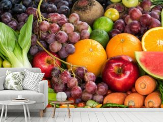 Fresh fruits and vegetables for healthy