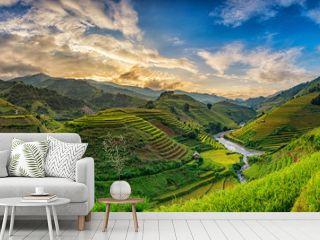 Green Rice fields on terraced in Mu cang chai, Vietnam Rice fiel