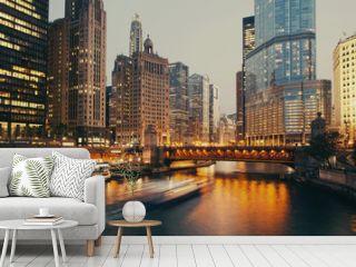 DuSable bridge at twilight, Chicago.