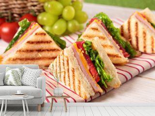Summer picnic club sandwich ham and cheese
