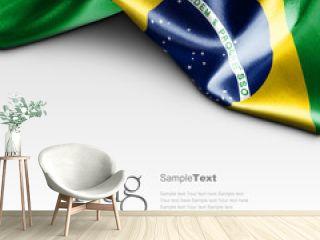 Flag of Brazil on white background. Sample text.