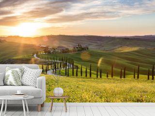 Beautiful sunset near Asciano, Tuscany, Italy