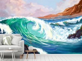 Watercolor Style Digital Artwork: The Sea. Realistic Fantastic Cartoon Style Character, Background, Wallpaper, Story, Card Design