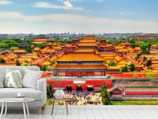 Aerial view on Forbidden City from Jingshan Park in Bejing