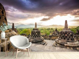 sundown at borobudur temple, indonesia