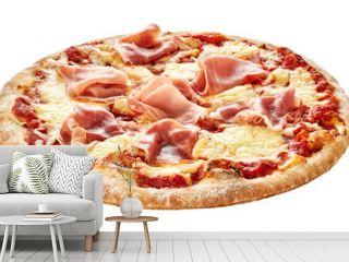 Traditional Italian pizza with prosciutto ham