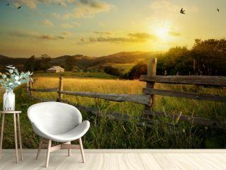 art countryside landscape  rural farm and farmland field