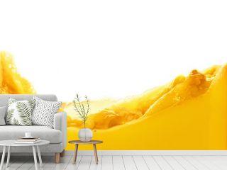 Orange juice splash isolated on white background