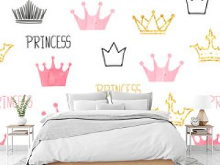 Little princess seamless pattern in pink and golden colors. Vector background with watercolor and glittering crowns
