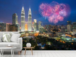 Kuala lumpur skyline with Fireworks celebration New year day 2017