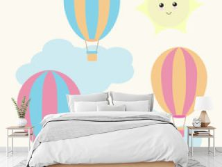 Nursery Wall Background with cute colorful hot air balloons, clouds, and sun suitable for children wallpaper