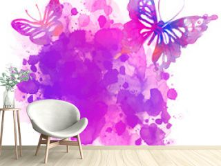 Amazing watercolor background with butterfly