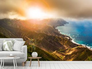 Scenic mountain landscape and sunset panorama in Tenerife, Spain
