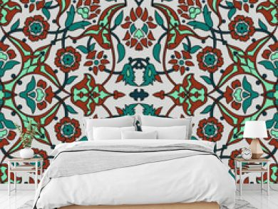 Stylized flowers oriental wallpaper retro seamless abstract background vector, decoration tile print oriental tribal floral ornament paisley, arabesque floral pattern tile vintage