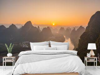 Sunrise Landscape of Guilin,