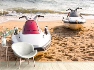 Jet ski on the beach.
