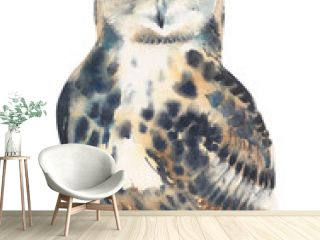 Owl watercolor painting illustration isolated on white background