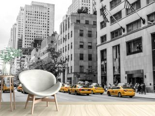 New York City Taxi Streets USA Big Apple Skyline american flag black white yellow