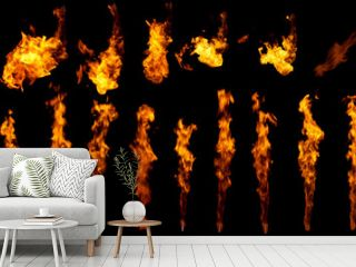 Fire flames design elements isolated on black