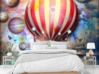 Night flight of fantastic hot air balloon