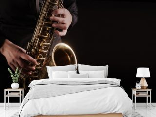 Saxophone player Saxophonist playing jazz music instruments