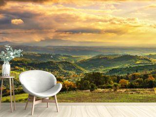 Maremma panorama. Countryside, hills and sea on horizon. Italy