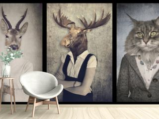 Animals in clothes. Concept graphic in vintage style. Zebra, dee
