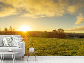 panoramic view of Northern Ireland countryside morning sunrise