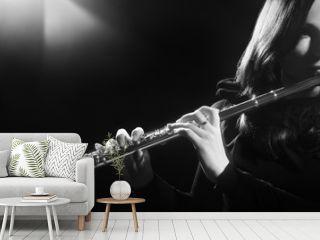 Flute instrument Flutist playing flute music player