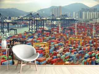 HONG KONG -MAY13: Containers at Hong Kong commercial port on May 03, 2013 in Hong Kong, China. Hong Kong is one of several hub ports serving more than 240 million tonnes of cargo during the year.