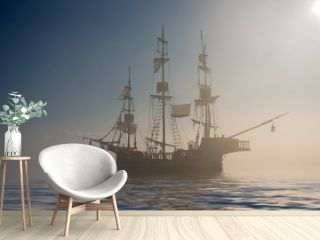 Ghost pirate ship in the fog