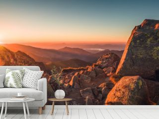Rocky Mountain Peak. Landscape at Sunset. View from Mount Dumbier in Low Tatras, Slovakia.