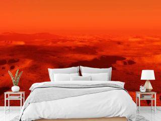 Landscape of Mars, Martian panorama, panorama of Mars, mountain landscape