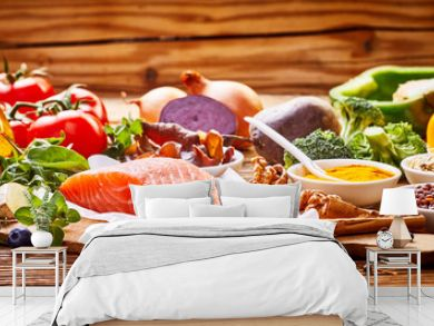 Healthy fresh raw food for the heart in a banner