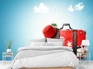 Turkey, vintage suitcase with Turkish flag