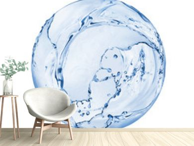 Round sphere made of water splashes isolated on white background