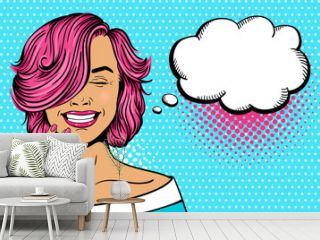 Wow pop art female face. Sexy young woman with pink curly hairstyle and closed eyes laughing. Vector bright illustration in pop art retro comic style. Party invitation poster.
