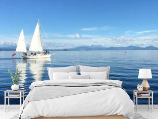 Yacht sail boats sailing over Lake Taupo New Zealand