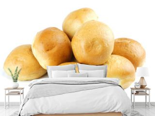 close up on fresh baked dinner roll isolated on white background
