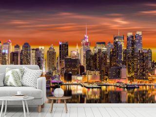 New York City panorama at sunrise.