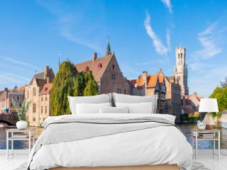 View from the Rozenhoedkaai in Brugge with the Perez de Malvenda house and Belfort van Brugge