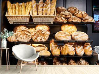 Fresh bread on shelves in bakery