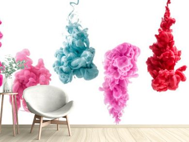 set of colorful ink isolated on white background. red, pink, blue drop swirling under water. Cloud of ink in water.