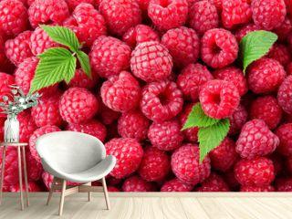 Raspberry. Fresh organic berries with leaves macro. Fruit background.