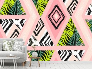 Hand drawn vector abstract freehand textured seamless tropical pattern collage with zebra motif,organic textures,triangles isolated on pastel background.Wedding,save the date,birthday,fashion decor