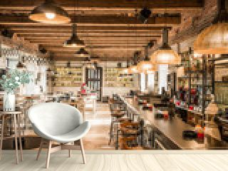 Restaurant with luxury woodn ciling