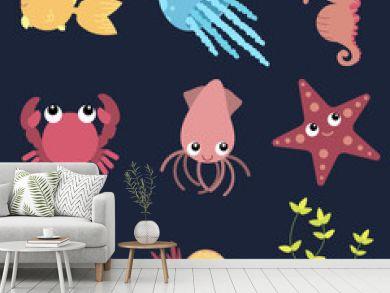 Flat design cute animals set. Underwater life: fish, jellyfish, seahorse, starfish, crab, squid, shells and seaweeds.