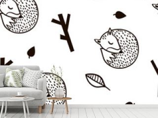 Seamless black and white pattern with fox,branch and leaves.Minimalistic texture in scandinavian style.Vector background
