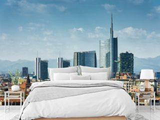Milan skyline with modern skyscrapers on blue sky background, Italy