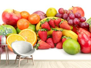 Panoramic wide photo of fresh fruit for skinali isolated on white
